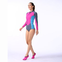 Wholesale Wet Suit Wholesalers - Durable Women Diving Surfing Swimsuit Surf Shirt Wet Suit For Swimming Suit Long Sleeve Pink Wetsuit Free Shipping 2506089