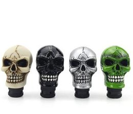 Wholesale Universal Green Shift Knob - Car Accessories Green Silver Black Resin Wicked Carved Skull Universal Car Manual Gear Stick Shifter Knob Shift Lever