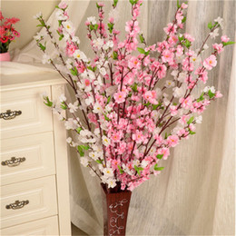 Wholesale Plum Tree Blossoms - Artificial Cherry Spring Plum Peach Blossom Branch Silk Flower Home Party Tree Decor Fake Flowers 65cm