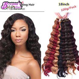 Wholesale Deep Wave Braid Hair - Freetress braiding hair freeshipping Dark Blonde Synthetic Ombre Braiding Hair Extensions Deep Wave Crochet jumbo Braids Hair bundles