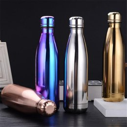 Wholesale Bowls Direct - Cola Bottle Water Cup Insulation Mug 500ML Vacuum Bottle Sports Stainless Steel Cola Bowling Shape Travel Mugs 4 Colors