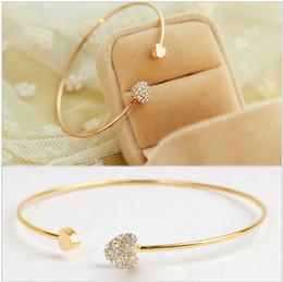 placas de amor Desconto Atacado-atacado New coração cristal amor abrindo banhado a ouro pulseira de cristal pulseiras pulseiras para as mulheres