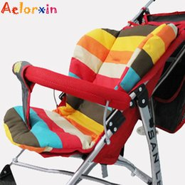 Wholesale Thick Car Seat Cushion - Wholesale- Cotton Soft Thick Baby Stroller Seat Pushchair Cushion Infant Cute Rainbow Color Pram Cushion Accessories BB Car Seat Cushion