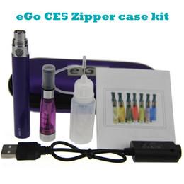 Wholesale Ego Starter Kit Ce5 Clearomizer - eGo CE5 Zipper case kit electronic cigarette starter single kit with CE5 atomizer clearomizer tank eGo-T battery 650 mah 900mah 1100mah