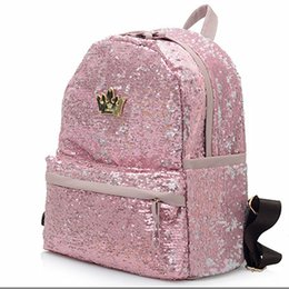 Wholesale Sequin Girl Tops - Wholesale- 2017 Fashion Cute Girls Sequins Backpack Womens Paillette Leisure School BookBags Free Shipping Top Quality P110