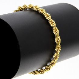 Wholesale Gold Bracelet Twisted Rope Chain - High Quality Hiphop 6mm Men Copper Twisted Rope Chain Bracelet Gold Plated Hip Hop Bracelets Rock Punk Jewelry