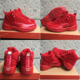 Wholesale Fishing Rubbers - New Released Retro 12 Red Suede Basketball Shoes Men Women 12s Red Suede Sneakers High Quality With Shoes Box