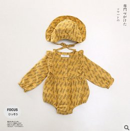 Wholesale Wholesale Christmas Tree Hat - Baby unisex cotton rompers infants printed tree leaves ruffle jumpsuit+hat 2017 new autumn toddler kids long sleeve rompers C0946