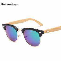 All'ingrosso LongKeeper Bamboo Wood Occhiali da sole Donna Wooden Occhiali da sole Uomo Classic Modeling Occhiali Da vista Star Style Cat Eye oculos de sol K1505 da