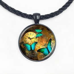 Wholesale American Clocks - Wholesale Glass Dome steampunk clock pendants steampunk watch necklace Butterfly necklace for friends with high quality