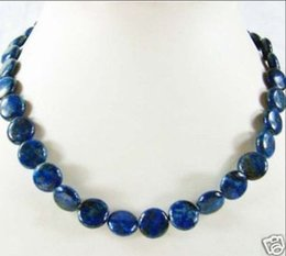 """Wholesale Lapis Lazuli Pearl Necklace - Natural AAA 10mm Lapis Lazuli Coin Beads necklace 17"""""""