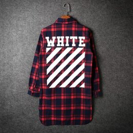 Wholesale White Black Dresses Blouses - Men long sleeve plaid flannel shirt bigbang off white blouse women harajuku casual slim fit dress shirts camisa masculina