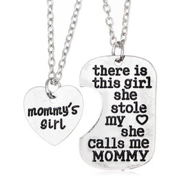Wholesale Snake Necklace Sale - Hot sale Girl Stole Heart Mommy daddy series Mother's Day Father's Day family necklace WFN013 (with chain) mix order 20 1set=2 pieces