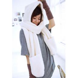 Wholesale Hat Scarf Glove Sets Women - scarf women winter scarf Lovely Warm Women Gloves Pocket Earflap Hat Long Scarf set Shawl Snood Wraps 4 solid colors DM#6