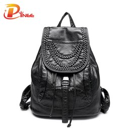 Wholesale Cover Woven Bags - Wholesale- Luxury Ladies Genuine Leather Backpack Designer Rivet Washed Sheepskin Bags Weave Decoration Women Bags