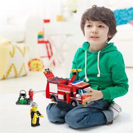 Wholesale Diy Display Rack - gift card display rack J310 Educational Toys!! New arrival 206pcs Fire Truck Building Blocks Small Particles DIY Action Figure Toys Best