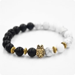 Wholesale Volcanic Clay - 2017 New Crown Lion Head Agate Bracelet White Turquoise Volcanic rock Buddha Prayer Natural Stone Yoga Bracelet For Women Beaded Jewelry