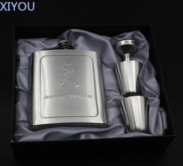 Wholesale Flask Brands - Wholesale- Brand JOHNNIE WALKER 7oz Portable Stainless Steel Hip Flask Set High Quality Whiskey Flask Gift For Best Friend