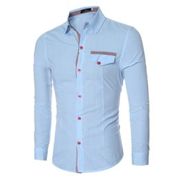 Wholesale Male Collars - Wholesale- Men Shirt 2016 New Brand Business Casual Long Sleeve Square Collar Fashion Men Dress Shirt Casual Male Clothes Red Menswear z0