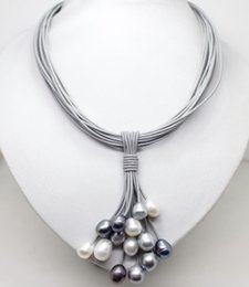 Wholesale Leather Necklace Gold Clasp - 12mm Real White Black Gray Freshwater Pearl Necklace Leather Cord Magnet Clasp