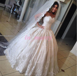 Wholesale Korean Ball Gowns - Princess Cinderella Wedding Dresses Pictures 2017 Ball Gown Sweetheart Bead New Korean Vintage Lace Victorian Muslim Islamic Wedding Gowns