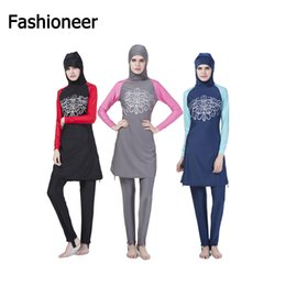Wholesale Muslim Women Swimming - Fashioneer 2017 Modest Islamic Printed Floral Patchwork Women swimwear full coverage swimwear muslim swimming beachwear swimsuit 5589
