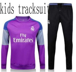 Wholesale Boys Tracksuit Zipper - 2016 17 real madrid kids Tracksuits jackets top quality Training suit BENZEMA JAMES BALE RONALDO boys football Tracksuits