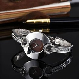 Wholesale Watch Band Silver Cheap - Cheap Ultra-thin Ladies watches Luxury brand Designer Diamond Full Stainless Steel band Quartz Wrist watch for women Female clocks best gift