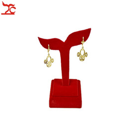 Wholesale Stand Jewelry Wedding - Free Shipping Beige Red Velvet Jewelry Display Holder Wedding Earring Display Stand Rack Stud Organizer Jewelry Box For Gold diamond