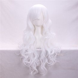 Wholesale White Wig Cosplay Long - Cosplay Hair Wigs 80cm Cheap White Long Body Wave Side Bang Heat Resistant Cartoon Synthetic Wig