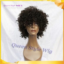 Wholesale Jerry Curls Hair Wig - Trendy Fringe Style Short Afro Kinky Curly Hair Wig Synthetic Glueless None Lace Front Jerry Curl Hair Wigs for Black Women