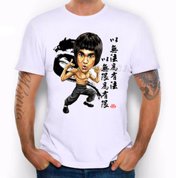 Wholesale Mma Shirts - New 2017 Summer Fashion Bruce Lee Design T Shirt Men's High Quality MMA Tops Hipster Tees
