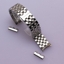 Wholesale End Clasps - 16mm 18mm 20mm 22mm 24mm High quality Silver Depolyment Watchband Black Metal Watch Bands Bracelets Common curved end flat ends fold clasp