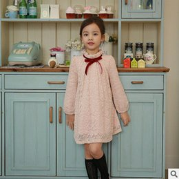 Wholesale Sweet Bowknot Dress - Girls chiffon dress 2017 spring new children lace jacquard princess dress kids bowknot lace-up ruffle collar dress sweet kids clothing T1108