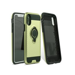 Wholesale Armor Painting - Hight quality Valued 3D ring buckle armor metallic paint anti-skid chequer sports Dirt-resistant TPU PC hybird back case for iphone X