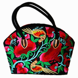Wholesale embroidered national trend bag - Wholesale- 2015 autumn new trend for women's floral embroidered canvas handbag large capacity shopping tote ladies' multi-purpose tote