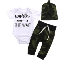 Wholesale boys romper 24 months - 2017 Baby Rompers Clothing Sets Boys Girls Letters Toddler Romper Camouflage Pants Caps 3Pcs Set Cotton Infant Onesies Boutique Clothes