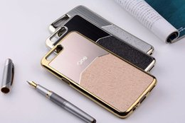 Wholesale Gold Skin Sticker - OCWAV oneplus 5 case coque Luxury metal Brushed with PU leather sticker silicone TPU soft Skin cover capa funda gold silver