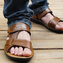Wholesale Wedge T Strap Sandals - Wholesale-New Summer 2016 Men's Sandals Wedge Sandals Casual Men's Real Leather Sandals Slippers SIZE 38-44 Free Shipping