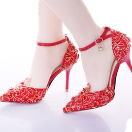 Wholesale Burgundy Womens Dress Shoes - Red Wedding Shoes Pointed Toe Ankle Strap Womens High Heels Genuine Leather Pumps Stilettos Bridal Dress Shoes 9cm Heels Pumps