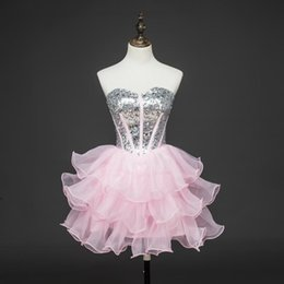Wholesale Straples Dresses - Organza Pink Short Sleeves Cheap Prom Dresses Beading Special Occasion Plus Size Formal Straples Party Holiday Gowns Dresses Evening Wear