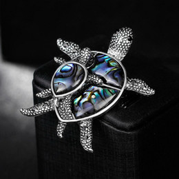 Wholesale Tortoise Shell Plates - New Design Antique Silver Classic Colorful Shell tortoise Brooch Lovely Style Animal Brooch Jewelry for women Wholesale