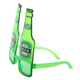 Wholesale Glass Favor Bottles - Wholesale-New Hot Hawaiian Summer Beach Novelty Sunglasses Beer Bottle Glasses Goggles for Hen Night Stag Fancy Dress Costume Party Green