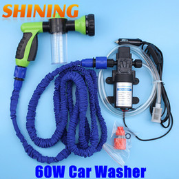 Wholesale Water High Pump Car Wash - Wholesale-Free Shipping 12V Car Washing Machine Cleaning Pump High Pressure Water Pump Water Gun Washing Equipment Portable Car Washer Set