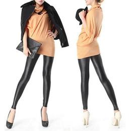 Wholesale Black Women Pu Leather Pants - 1pc Hot Selling Women Girl's Sexy Black Faux PU Leather Leggings Women Skinny Pencil Pants Trousers