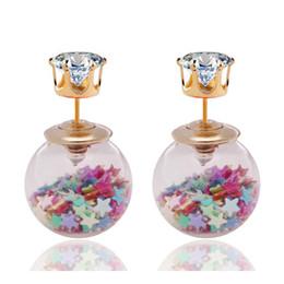 Wholesale Glasses Ear - New Fashion Jewelry Golden Crown Crystal Shining Double Sides Big Glass Pearl Stud Earrings Star Ball Earrings Ear Stud Women