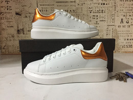 Wholesale Womens White Leather Sneakers - 2017 New Mens Womens Fashion Luxury White Leather Platform Shoes Flat Casual Shoes Lady Black Pink Gold Women White sneakers 35-43
