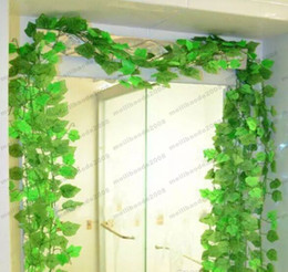 Wholesale Grape Leave - NEW Beautiful Green Grape Leaves Vine Ivy Simulation Plastic Flower Artificial Plants For Wedding Home Decor MYY