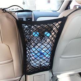 Wholesale Trunk Car Organizer - 24X25cm Universal Elastic Mesh Net trunk Bag Between Car organizer Seat Back Storage Mesh Net Bag Luggage Holder Pocket