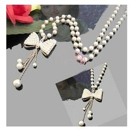Wholesale Long Pearl Necklace Designs - Wholesale-Korean jewelry Hot Selling Bow Imitation Pearl Necklace Pendant long Design Necklace Woman Jewelry Accessories Free Shipping